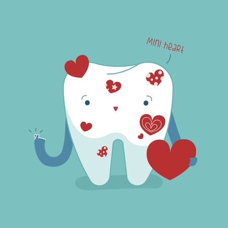 Love heart from tooth for care and healthy your mouth, dental cartoon concept.