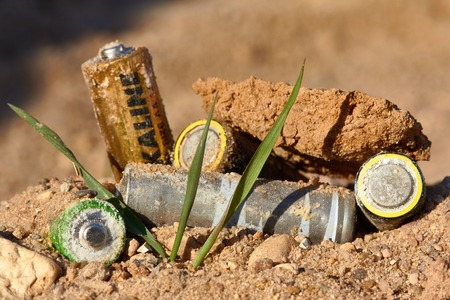 old mercury: Exhaust alkaline batteries improperly thrown away, not recycled and are poisoning the land.