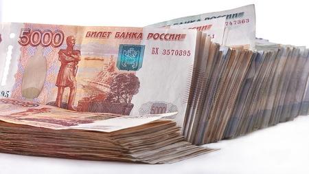 mucho dinero: Bundle of rubles, a lot of money as background. Foto de archivo