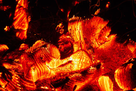Glowing Flaming Hot Heat Wood Charcoal in fire-box