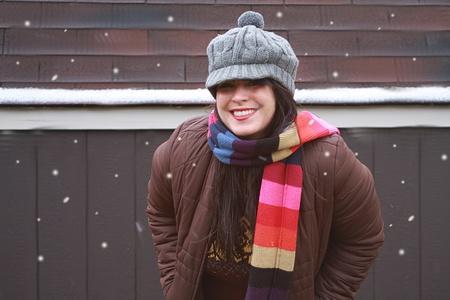 Pretty Woman Standing in Winter Snow Reklamní fotografie