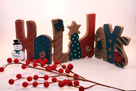 Holidays Sign with Holly Berries for Christmas