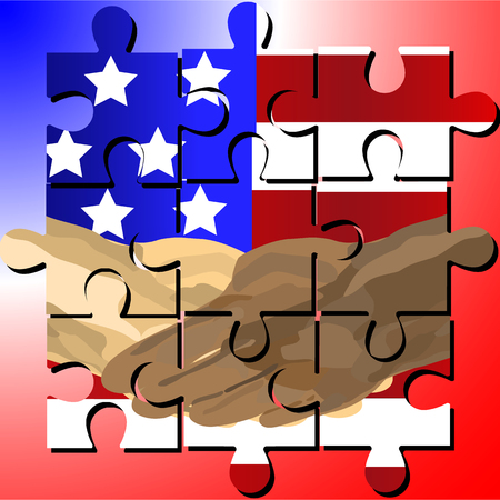 Vector designed jigsaw shows  black and white human shake-hand with USA national flag background on Martin Luther King Jr Day (MLK day). It means friendship and stop racism.