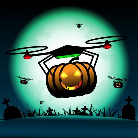 Vector pumpkin halloween drones fly on halloween. Full-moon above graves at midnight background.