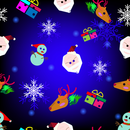 Santa , raindeer , snow man , gift in the darkblue background as the symbols of chrismas celebration in seamless styled Illustration