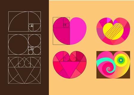 Heart symbol in golden ratio, flat illustration style