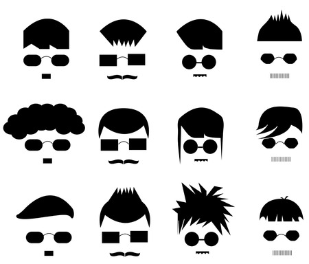 sideburn: Set of silhouette hair men, create by vector