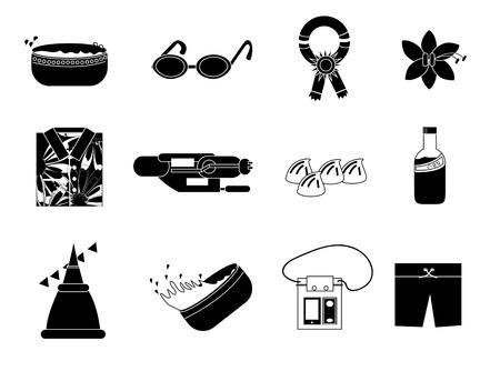 songkran: Set of silhouette Thai New Year celebration or Songkran Festival, create by vector Illustration