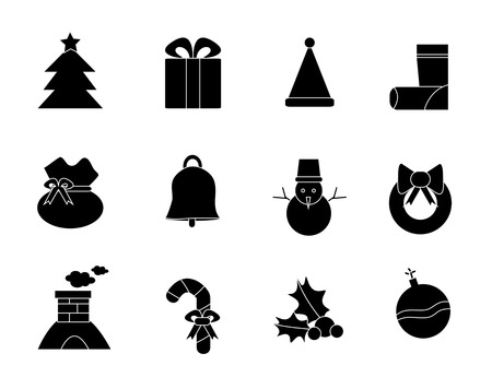 handbell: Set of silhouette christmas and New Year black icons, create by vector
