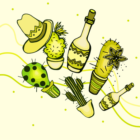 latinoamerica: Illustrations with bottles, cactus and a hat on a light background