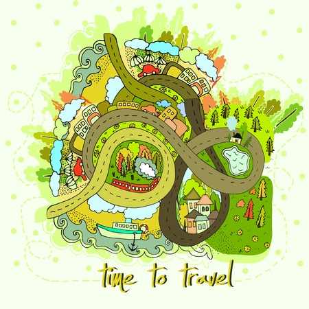 Cartoon map time to  travel. Vector. Vector
