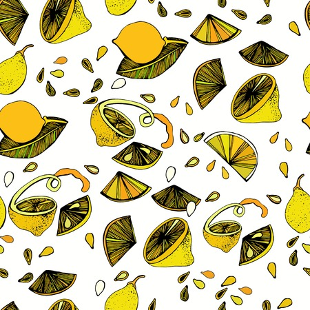 Seamless pattern with bright colorful image of limes on a white background.The template can be used for packaging, printing on cups, bags, wallpaper, textiles. Vector