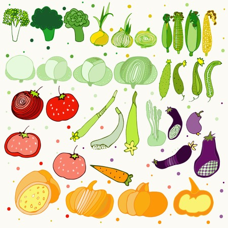 Illustration with funny vegetables icons on a light background with dots Vector
