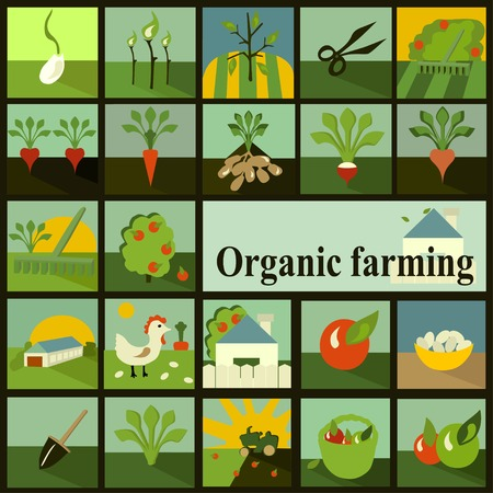 Set of icons. Organic farming Vector