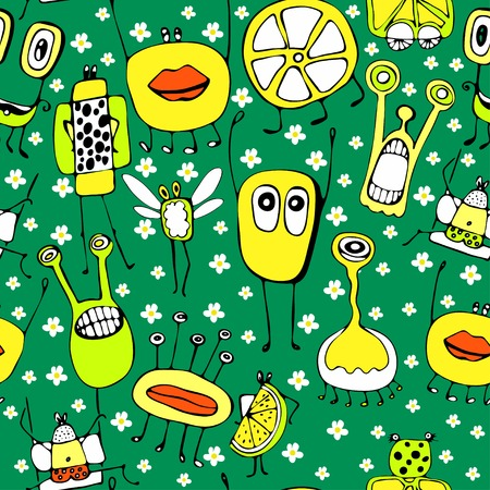 colorful pattern with funny icons Vector
