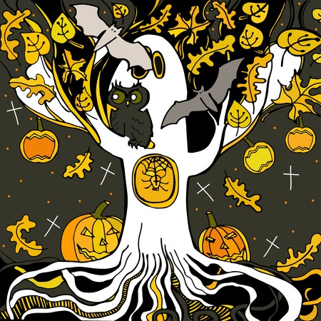 cute ghost: Halloween. Background with cute ghost