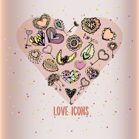 xoxo: Love icons. Vector.  Illustration for greeting cards, invitations, and other printing projects. Illustration