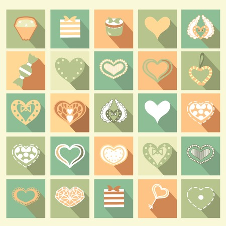 Set of Love icons. Vector. Ideal for valentines day Vector