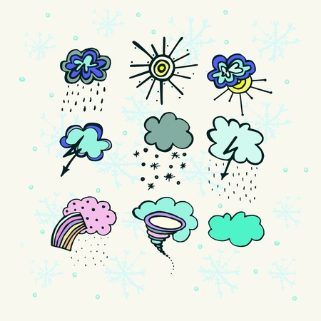 illustrations with icons of weather conditions on a light background with snowflakes Vector