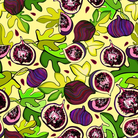 Seamless colorful pattern with the image of fig fruits on a light background with dots Vector