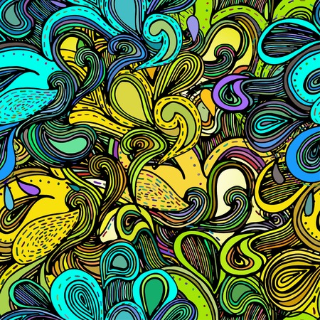 psychedelic background: Illustrations with abstract sea waves. Colorful abstract hand-drawn design, waves background