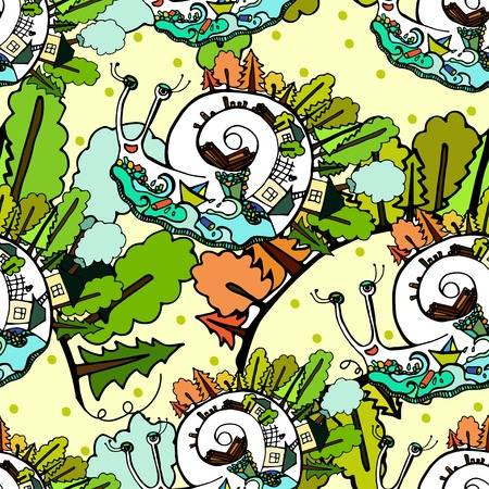 Seamless pattern with snails. Save the Planet. Vector. Vector