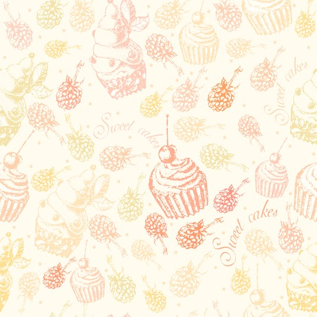 blueberry pie: Cute seamless pattern sweet Cake  on a light  background