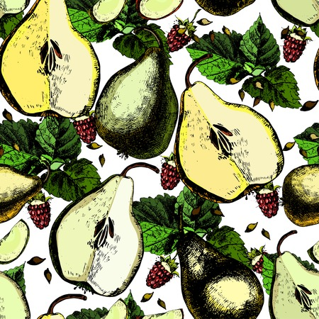 ?olorful pattern  with pears and raspberries. Vector