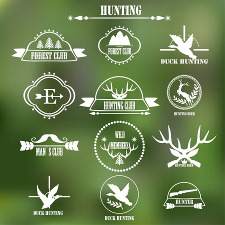 duck hunting: Hunting club label collecton. Vector. Illustration