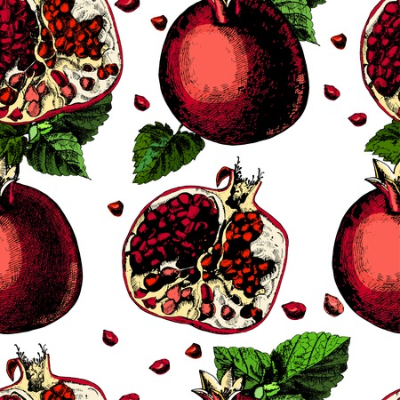 Pattern with pomegranate. Illustrations. Vector.  The template can be used for packaging, printing on cups, bags, wallpaper, textiles. Vector