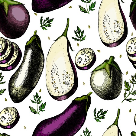 unpeeled: Pattern with  eggplants.  The template can be used for packaging, printing on cups, bags, wallpaper, textiles. Illustration