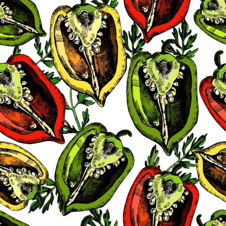 Set of  peppers.  Illustrations. Vector. The template can be used for packaging, printing on cups, bags, wallpaper, textiles. Vector