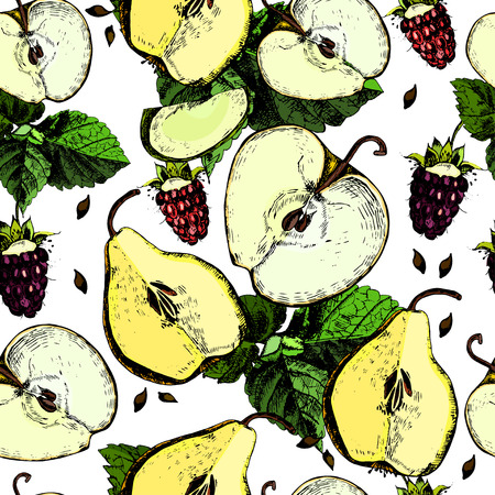 ?olorful pattern with apples, pears and berries. Hand drawing. Vector