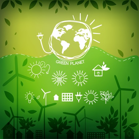 Illustrations with icons of ecology, environment, green energy and pollution. Vector. Vector