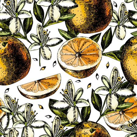 acid colors: pattern with fruits, flowers and leaves of orange.