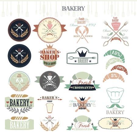 Vintage Retro Bakery Badges and Labels. Illustration