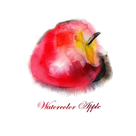nature one painted: Juicy apple. watercolor