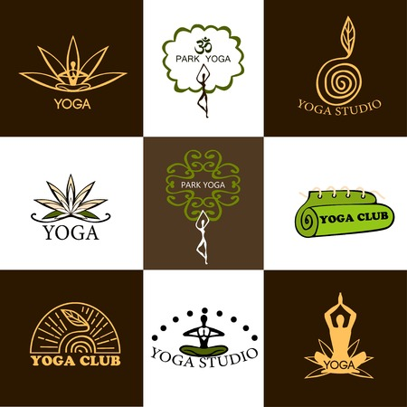 Set of logos of yoga and meditation Illustration