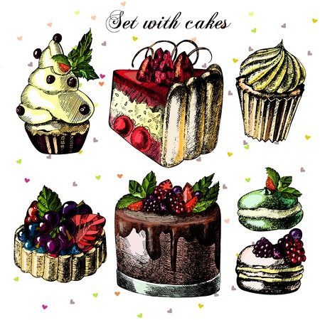 set of beautiful cakes and cupcakes Vector