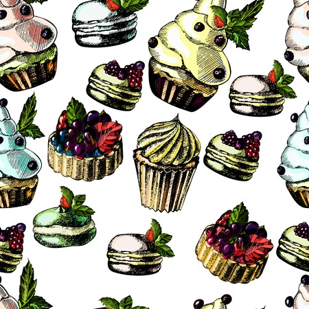 Pattern with bright and delicious pies, cupcakes and macaroon on a light background Vector