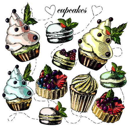 Bright and delicious pies, cupcakes and macaroon on a light background. Vector