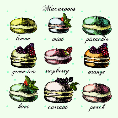 green and black: illustrations with colorful macarons,