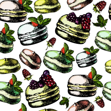 Pattern with colorful macarons. Vector