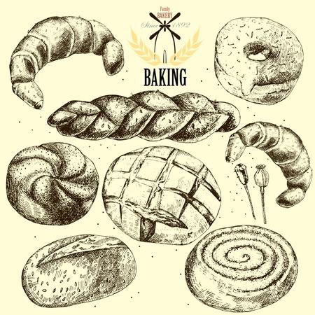 corn poppy: Bakery vector set. Hand drawn.