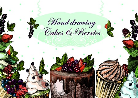 Hand drawing illustrations with berries and cupcakes