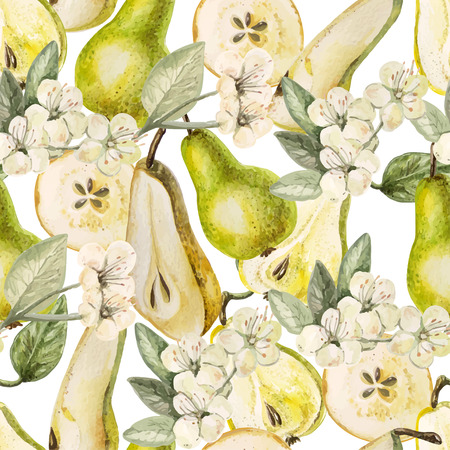 Watercolor Pattern with pears and flowers