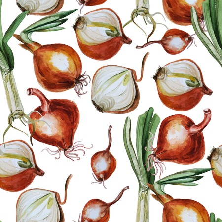 kitchen garden: Watercolor pattern with onion