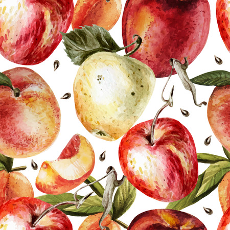 Watercolor pattern with apples and peaches.