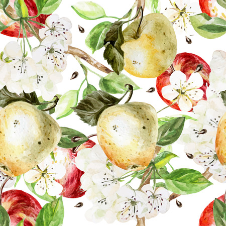 abstract floral: Watercolor Pattern with apples and flowers. Vector illustration