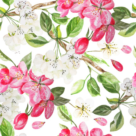 Beautiful pattern with flowers apple and peach. Vector illustration